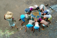 In India, a group of men work together to lift a box of vegetables to sell insid