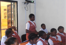 Miss Egbeaso Amarachi giving the lectures on breast and cervical cancer to the students
