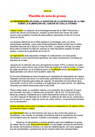Cervical cancer elimination strategy - press release template spanish