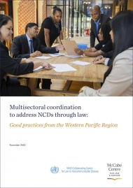 """Cover of the report by McCabe Centre for Law & Cancer, """"Multisectoral coordination to address NCDs through law: Good practices from the Western Pacific Region"""""""