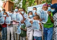 Paediatric cancer patients in Sudan demonstrate in front of the Ministry of Health asking for chemotherapy drugs.