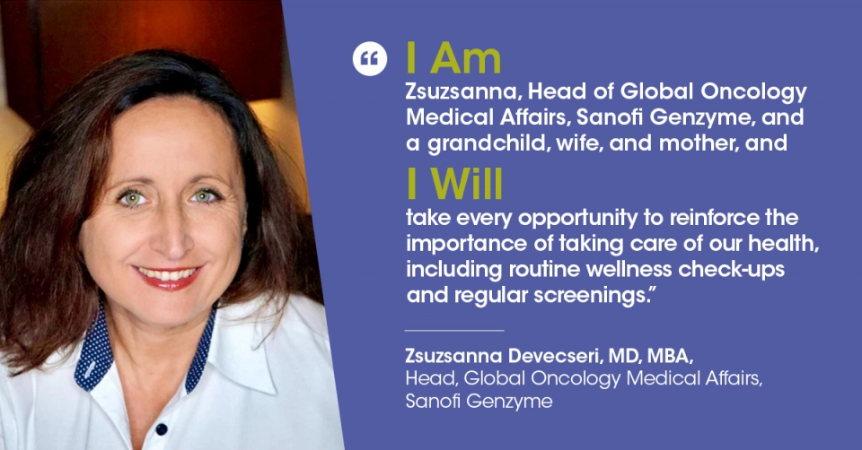 "Zsuzsanna Devecseri, MD, Head, Global Oncology Medical Affairs, Sanofi Genzyme, makes her ""I Am and I Will"" pledge for World Cancer Day 2021"