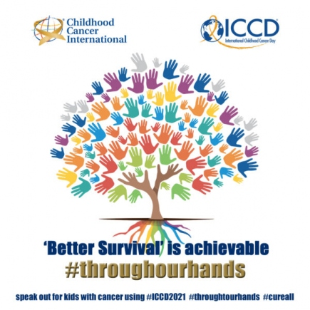 """The International Childhood Cancer Day campaign draws on the universal image of colourful children handprints, forming a """"tree of life"""" whose roots represent the key elements for 'Better Survival'"""
