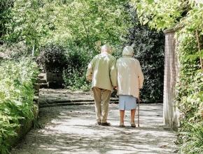 2 elderly walking
