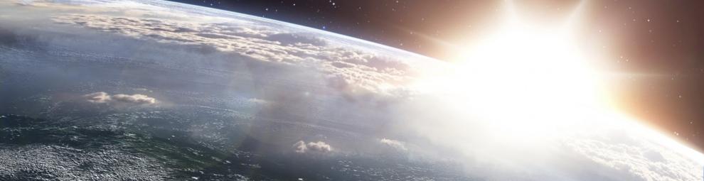 sun over the earth's horizon