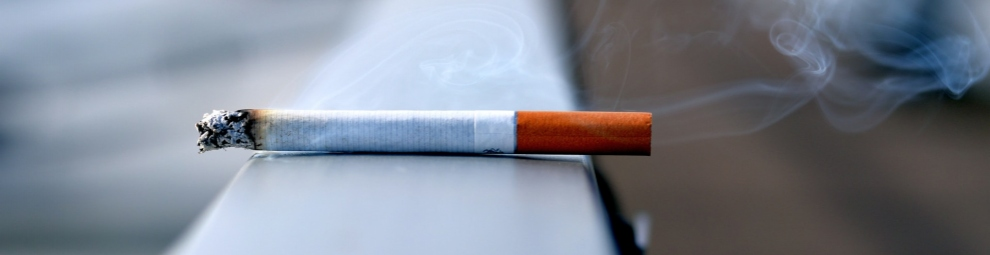 Cigarette burning on a surface