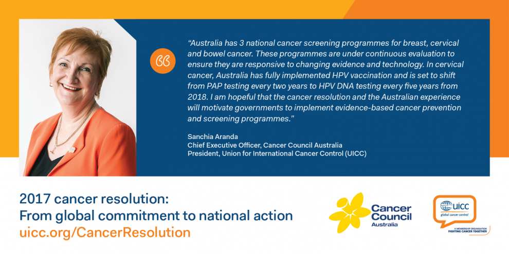 Quote by Sanchia Aranda, CEO of Cancer Council Australia and UICC President