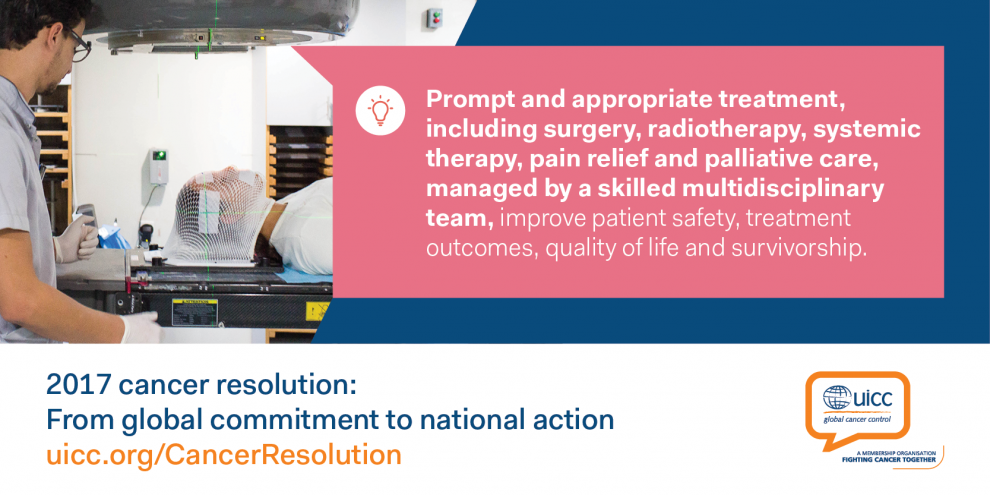 Cancer resolution - prompt and appropriate treatment, including surgery, radiotherapy...