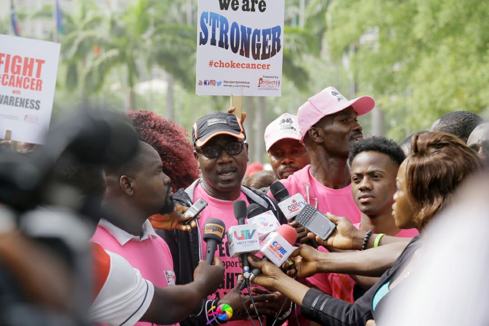World Cancer Day 2017: Project PINK BLUE speak to media at a rally.jpg
