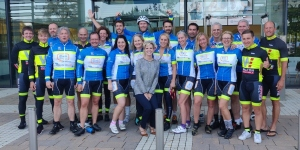 2019 C2C4C riders arrive at Bristol-Myers Squibb office in London, UK on 27 Sept. 2019