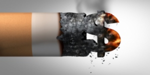 Cigarette end burning with ash forming a dollar sign, emphasising the huge profits generated by the tobacco industry and the heavy influence they use to undermine policy changes and more effective tobacco regulation