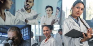 Campaign poster for World Cancer Research Day 2021 with collage of doctors