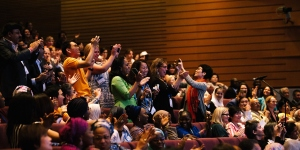 Cheering members at UICC General Assembly, held in conjunction with the 2018 World Cancer Congress in Malaysia