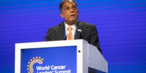 Prof. Anil D'Cruz, President of the Union for International Cancer Control, speakibng at a UICC World Cancer Leaders' Summit