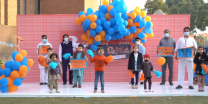 Members of Shaukat Khanum Memorial Cancer Hospital and Research Centre in Pakistan celebrate World Cancer Day