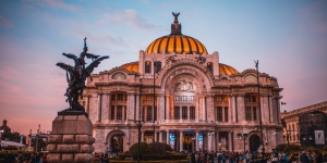 ancient architecture backlit Mexico