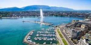Bird's eye view of Geneva with the Jet d'eau landmark
