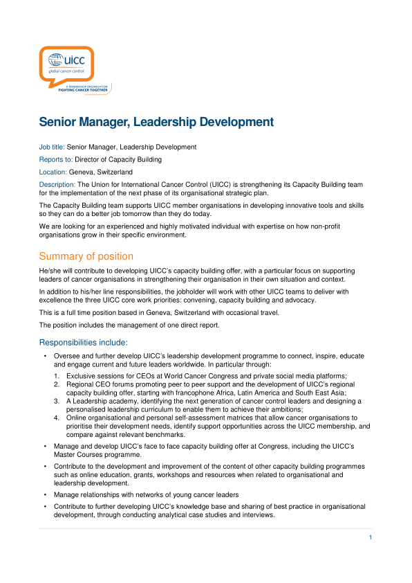 Director Of Development Job Description | Job Description Senior Manager Leadership Development Uicc